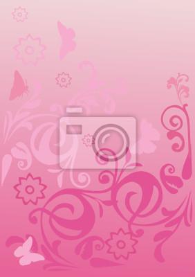 Rosa Arricciato Sfondo Con Farfalle Carta Da Parati Carte Da