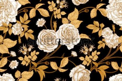 Carta da parati Rose, fiori, foglie, rami e bacche di rosa canina. Motivo floreale vintage senza soluzione di continuità. Oro, mancanza e bianco. Stile orientale Arte di illustrazione vettoriale Per tessuti di design