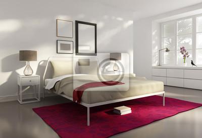 Rosso bianco elegante camera da letto di lusso, stile di disegno ...