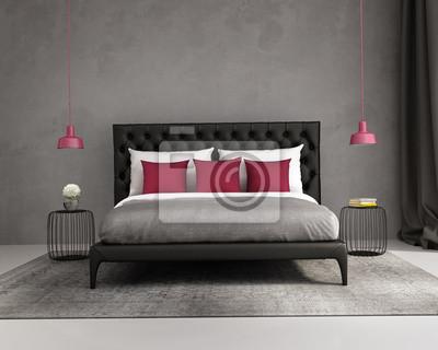 Carta da parati: Rosso elegante lusso contemporaneo e camera da letto grigio