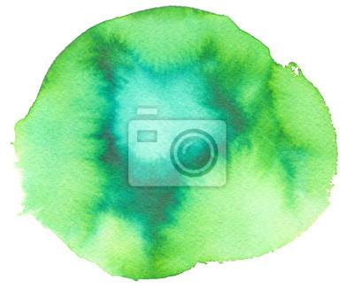 Rotondo Verde Brillante E Turchese Sfondo Blu Dipinto In Acquerello