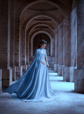 Carta da parati Sad Snow Queen walks in old castle. blue silk long raincoat train flying motion. Elven hairstyle cute face. Vintage fantasy art retro style. Frozen Fabulous woman photo shoot. sun magic shine rays