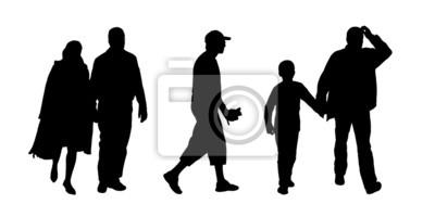 Sagome Persone Che Camminano.Carta Da Parati Sagome Di Persone Che Camminano Allaperto Set 10