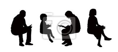 Foto Persone Sedute.Carta Da Parati Sagome Di Persone Sedute Allaperto Set 8