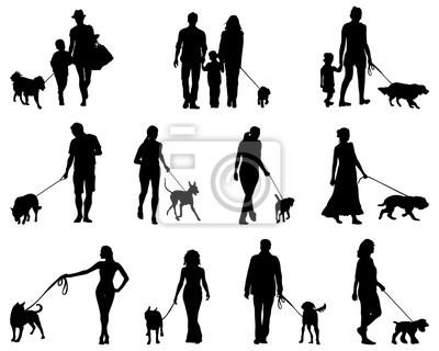 Sagome Persone Nere.Carta Da Parati Sagome Nere Di Persone Con Cani Vettore