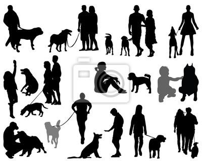 Sagome Persone Nere.Carta Da Parati Sagome Nere E Ombre Di Persone Con Cani Vettore