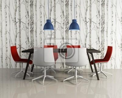 Carta Da Parati Per Sala.Sala Da Pranzo Eleganti E Moderne Sedie Rosse Bosco Wallpaper Carta