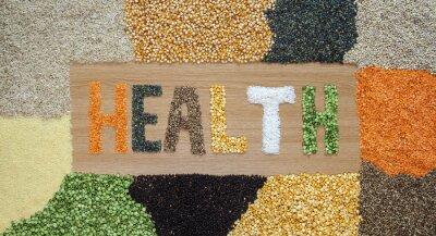 Carta da parati Salute e sanitari alimenti - cereali, semi, legumi, riso - organico.