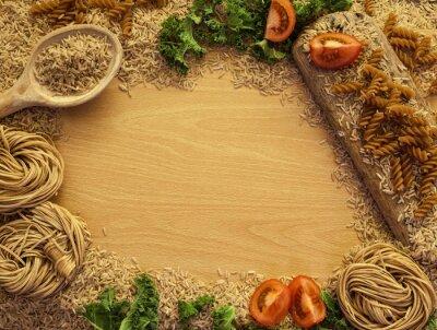Carta da parati Salute Sfondo di cibo, riso, pasta, insalate e verdure.