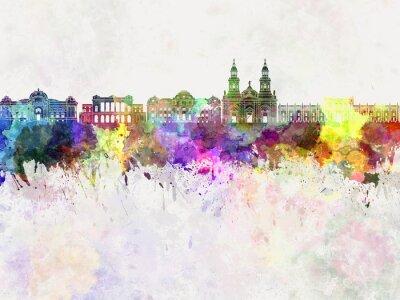 Carta da parati Santiago del Cile V2 skyline in background acquerello