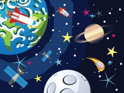 Carta da parati Saturno in Space