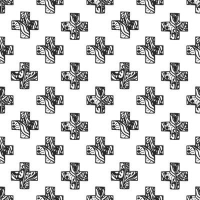 Carta da parati Scandinavo cross pattern stile minimal con trama rete traforata. disegno geometria tessuto della stampa in bianco e nero.