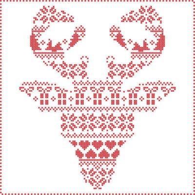Carta da parati Scandinavo Nordic cuciture inverno maglia modello di Natale in renna nel frontale forma della testa compresi i fiocchi di neve, alberi di Natale cuori regali, neve, stelle, ornamenti decorativi 2 Xmas