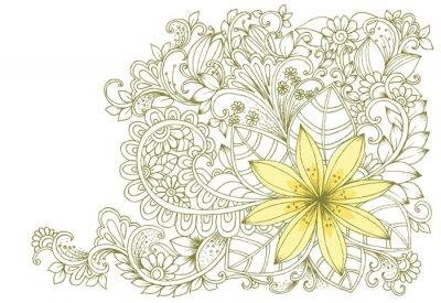 Carta da parati scarabocchi floreali