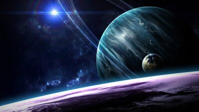 Carta da parati scena dell'universo con pianeti, stelle e galassie nello spazio esterno che mostrano la bellezza di esplorazione dello spazio. Elementi fornita dalla NASA