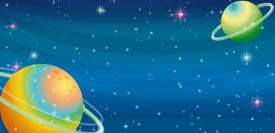 Carta da parati scena di spazio con due pianeti