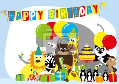 Scheda Di Buon Compleanno Con Gli Animali Selvatici E Baloons Carta