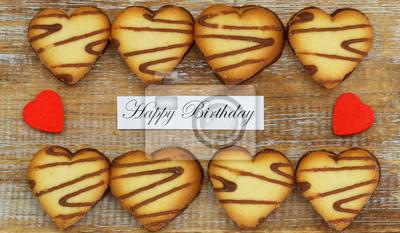 Scheda Di Buon Compleanno Con I Biscotti A Forma Di Cuore E Cuori