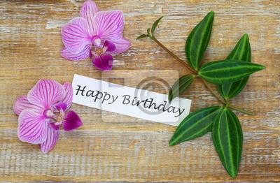 Carta Da Parati Scheda Di Buon Compleanno Con Orchidee Rosa E Verde Foglie Su