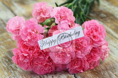 Scheda Di Buon Compleanno Con Rosa Fiori Di Garofano Carta Da Parati