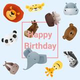 Scheda Di Buon Compleanno Con Gli Animali Dei Cartoni Animati Carta