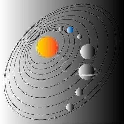 Carta da parati Schema del sistema solare. Illustrazione della struttura del sistema solare. Terra del pianeta blu.