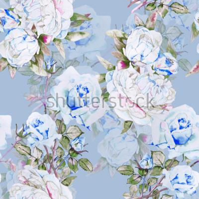 Carta da parati Schema dell'illustrazione dell'acquerello delle peonie e delle rose