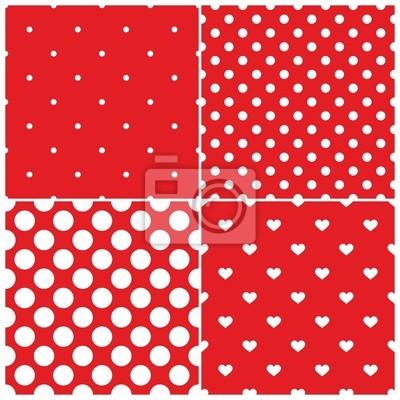 Schema Di Posa Vector Set Pois Bianco Cuori Sfondo Rosso Carta Da