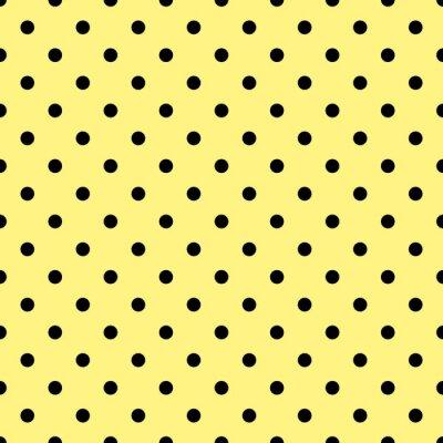Carta da parati schema di posa vettoriale con pois neri su sfondo giallo