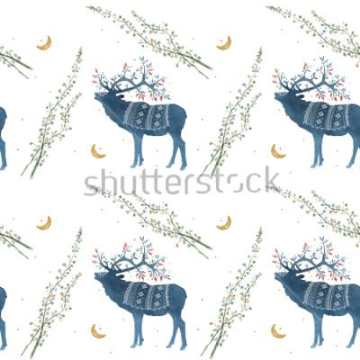 Carta da parati Schema senza giunte dell'acquerello con elemi scandinavi rami, fili d'erba.