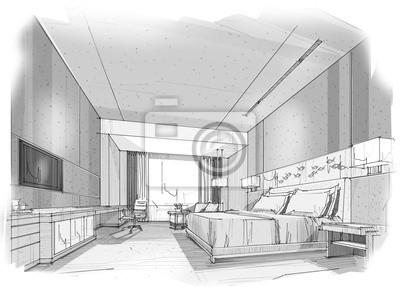 Carta Da Parati Di Design.Schizzo Camera Da Letto Di Design Interior Design Struttura Carta