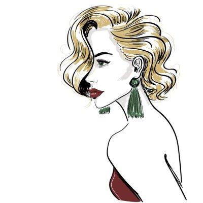 Carta da parati schizzo di donna bionda classica con onde di capelli