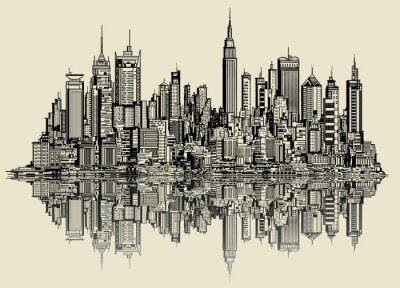 Carta da parati schizzo di New York