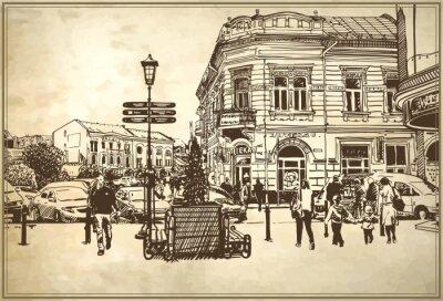 Carta da parati schizzo illustrazione vettoriale di Uzhgorod paesaggio urbano