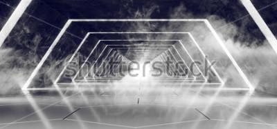 Carta da parati Sci Fi moderno futuristico buio vuoto fumo e nebbia di cemento piastrella corridoio straniero Tunnel con bagliore bianco superficie riflettente elegante sfondo 3D rendering illustrazione