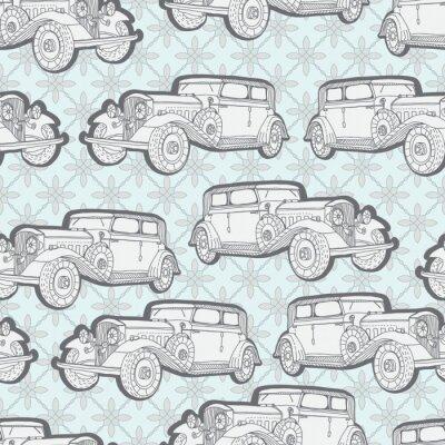 Carta da parati Seamless background with retro car