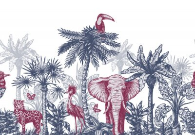 Carta da parati Seamless border with graphical tropical tree such as palm, banana and jungle animals. Vector.