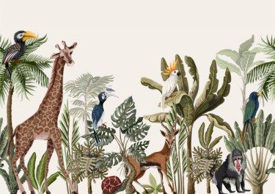 Carta da parati Seamless border with tropical tree such as palm, banana and jungle animals. Vector.