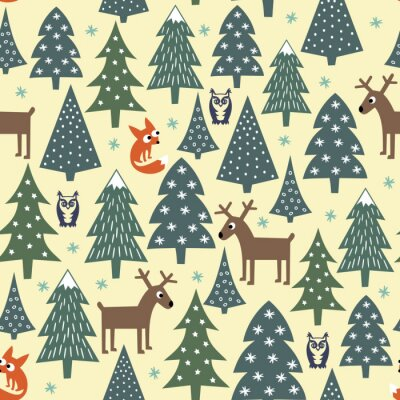 Carta da parati Seamless christmas pattern - varia alberi di Natale, case, volpi, gufi e cervi. Felice anno nuovo sfondo. disegno vettoriale per le vacanze invernali. Bambino stile di disegno della natura foresta ill