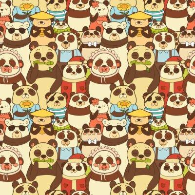Carta da parati seamless colorato con i panda divertenti