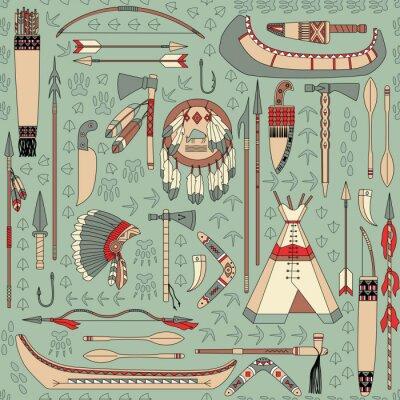 Carta da parati seamless con attributi nativi americani