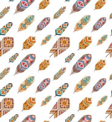 Carta da parati Seamless con piume etnici