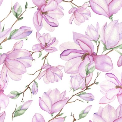 Carta da parati Seamless floral pattern with magnolias painted with watercolors on white background