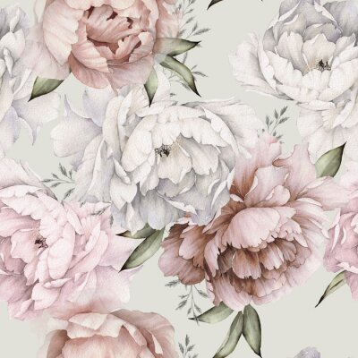 Carta da parati Seamless floral pattern with peonies on light background, watercolor. Template design for textiles, interior, clothes, wallpaper. Botanical art