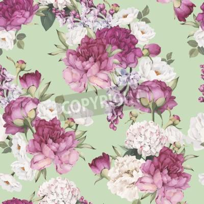 Carta da parati Seamless floral pattern with peonies. Vector
