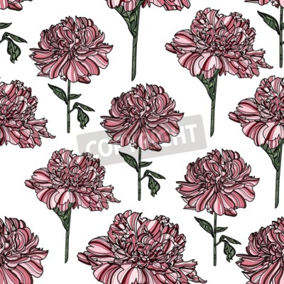 Carta da parati Seamless floral pattern with peony on white background.  Vector illustration. Typography design elements for prints, cards, posters, products packaging, branding.