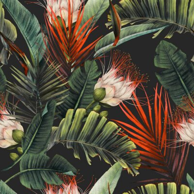 Carta da parati Seamless floral pattern with tropical flowers and leaves on dark background. Template design for textiles, interior, clothes, wallpaper. Watercolor illustration