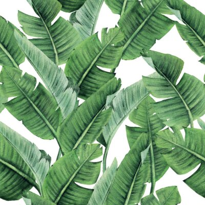 Carta da parati Seamless floral pattern with tropical leaves on light background. Template design for textiles, interior, clothes, wallpaper. Watercolor illustration