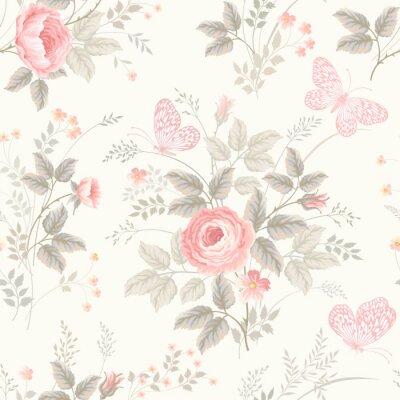 Carta da parati seamless floreale con le rose nei colori pastello