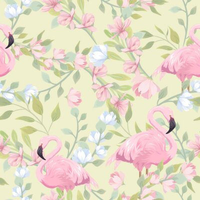 Carta da parati Seamless gentle pattern with pink flowers and flamingo